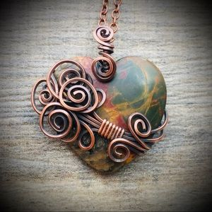 Picasso Jasper wire wrapped heart pendant necklace